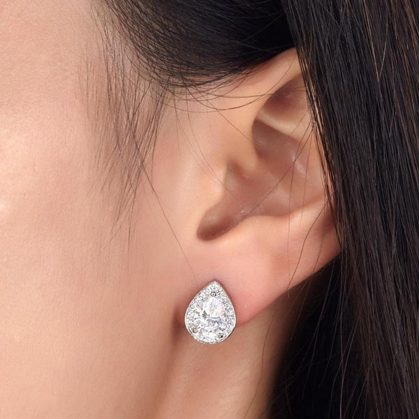Pear Cut Halo Stud Earrings