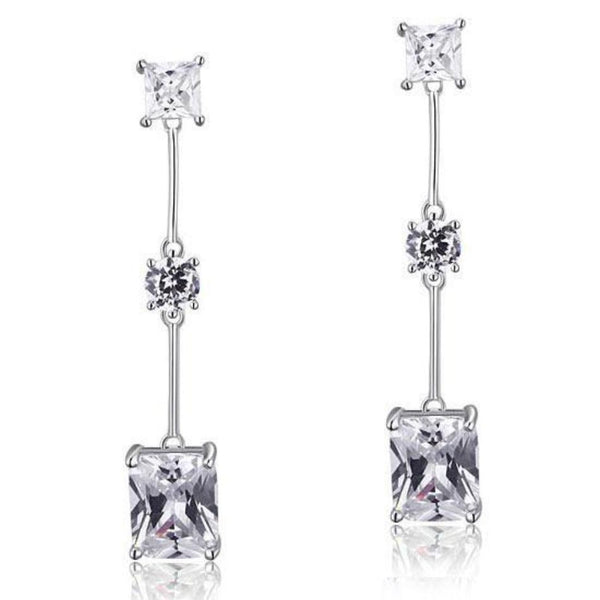 4 Carat Trio Cut Dangle Drop Earrings