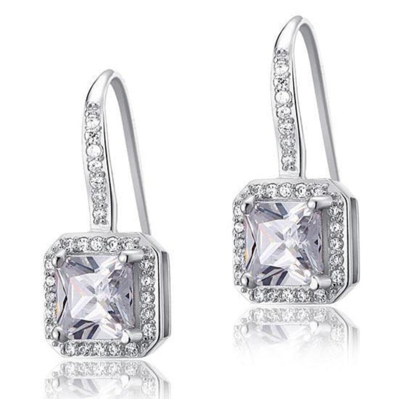 White Sapphire 1.5 Carat Princess Cut Earrings