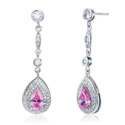 Pink Pear Cut 1.5 Carat Dangle Earrings