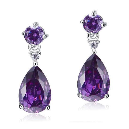 Purple Sapphire 3 Carat Dangle Earrings