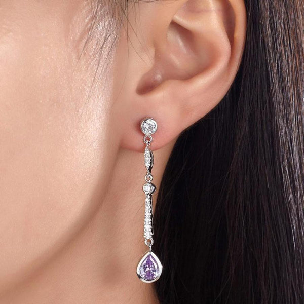 Purple Pear Cut 1 Carat Sapphire Drop Earrings