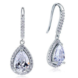 2 Carat Created Pear Cut Sapphire Dangle Drop Earrings