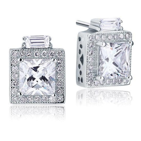 Vintage Locket Princess Cut 2 Carat Stud Earrings