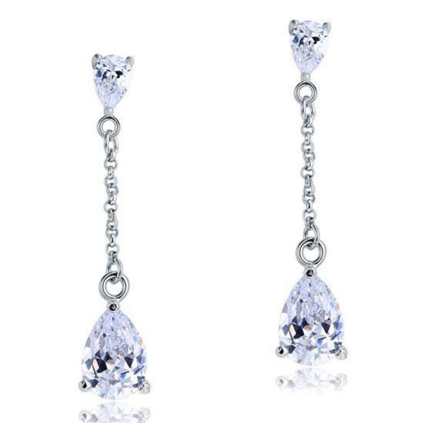 White Sapphire 2 CT Pear Cut Chain Drop Earrings
