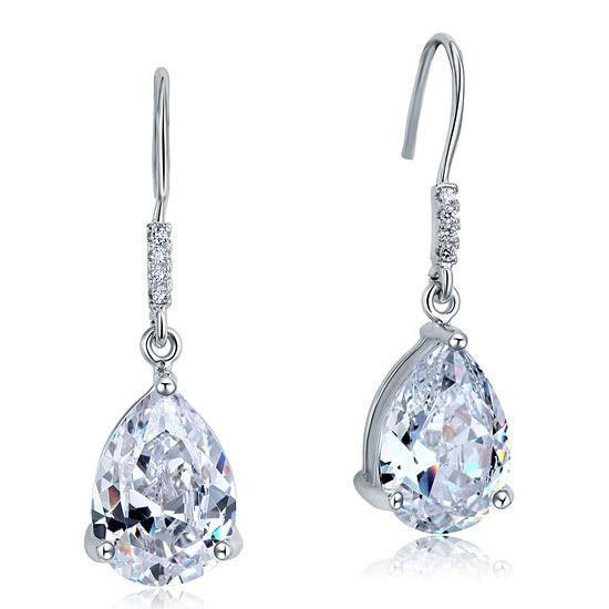 Pear Cut 4 Carat Sapphire Dangle Drop Earrings