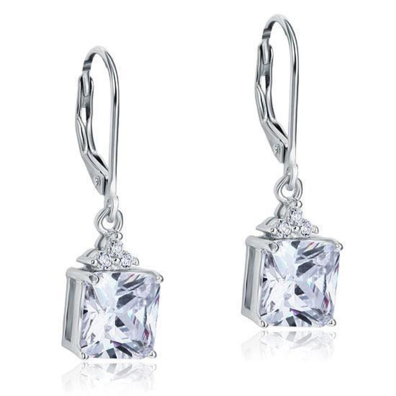 Dangle Drop 2 Carat Princess Medium Length Earrings