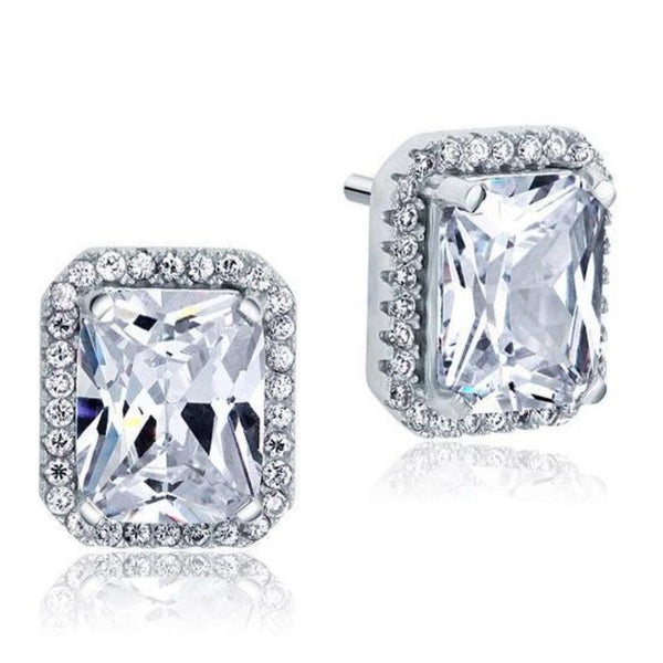 Radiant Cut 4 Carat Micro Set Bezeled Studs