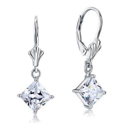 Princess Cut 1.5 Carat Engraved Lobster Clasp Earring