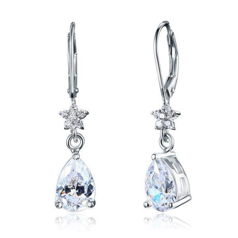 Pear Cut 2 Carat Snow Flake Dangle Earrings