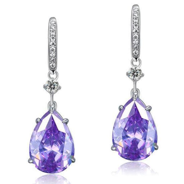 Purple Pear Crafted Sapphire Earrings
