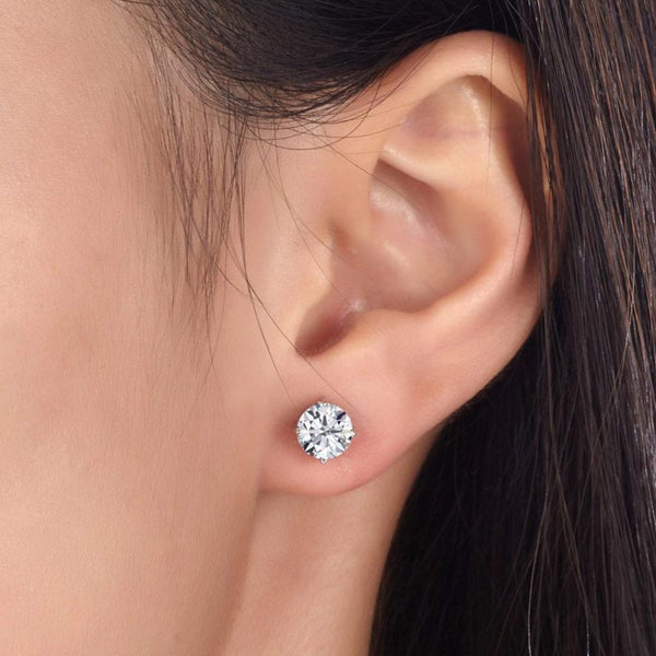 Round 1 Carat Crafted White Sapphire Earrings