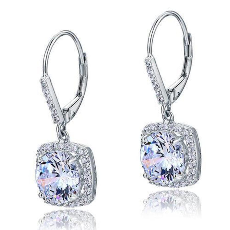 Brilliant Round Cut 2.5 Carat Bridal Earrings