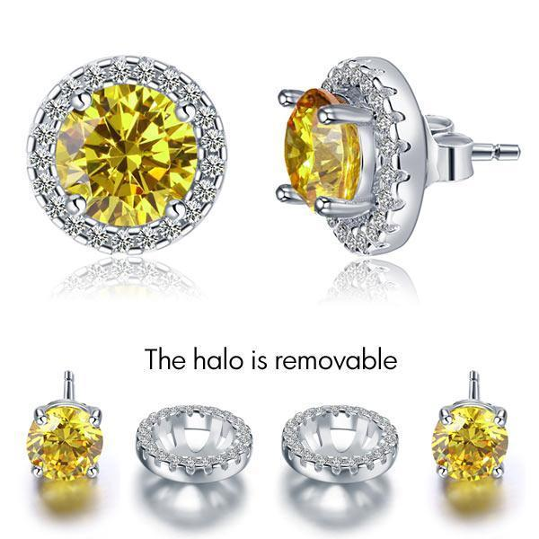 Canary Yellow Halo 2.5 Carat Stud Earrings