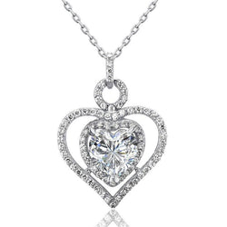 Heart Cut 3 Carat Heart Bezel Embellished Pendant Necklace