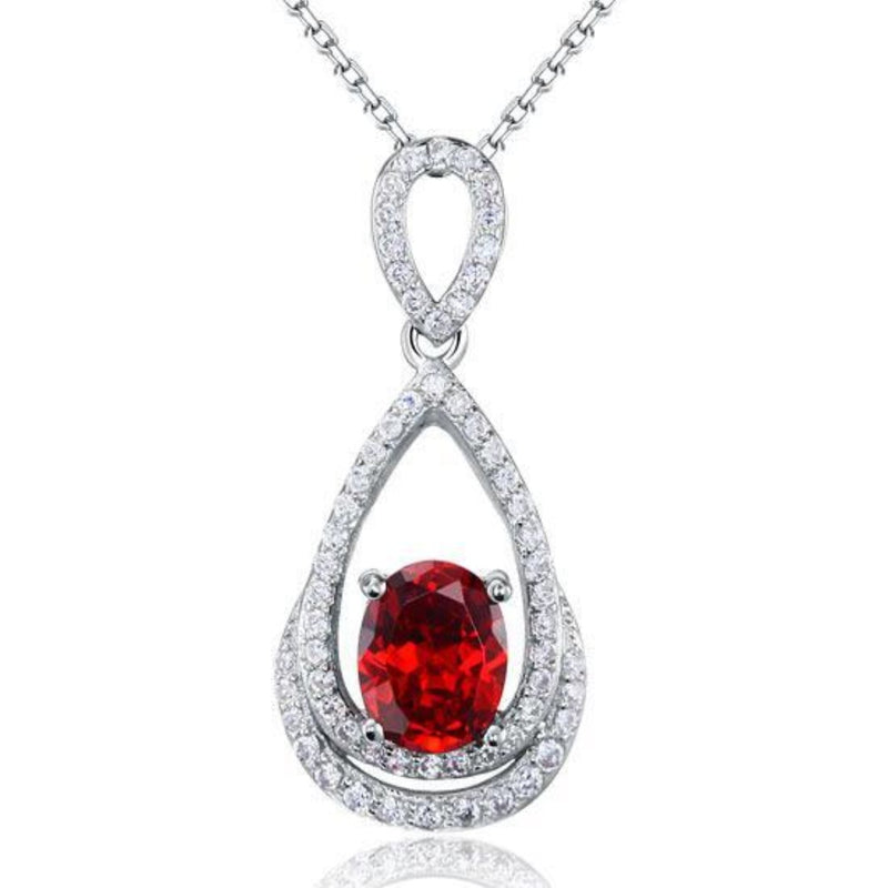 Ruby Red 2 Carat Oval Cut Embedded Pendant Necklace