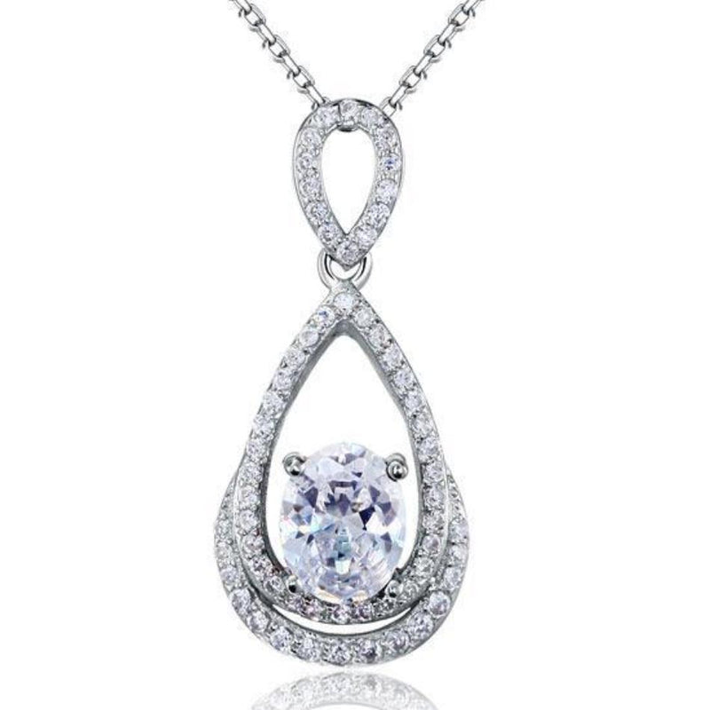 Oval Cut 2 Carat Embedded Bezel Pendant Necklace
