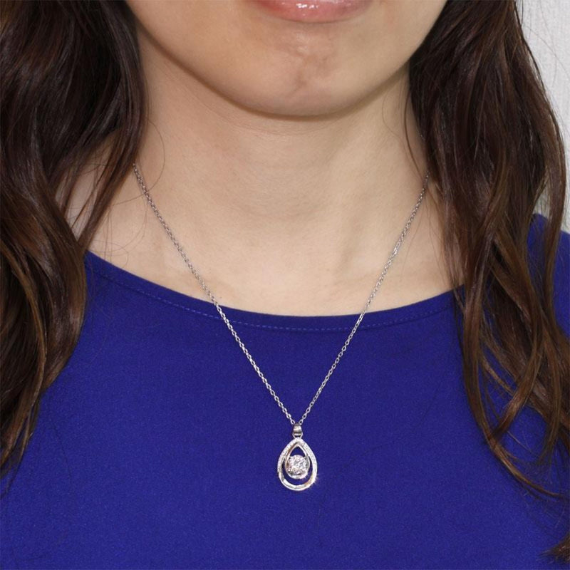 Doubled Tear Drop Round 1 Carat Created Sapphire Necklace