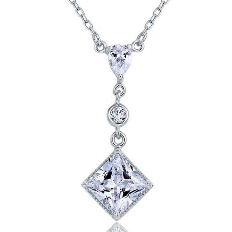 Princess Cut 2 carat 3-Stoned Necklace