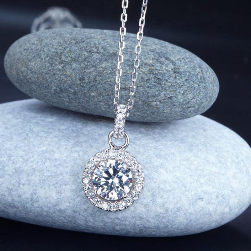 Bridal Necklace, Jewelry, White Sapphire, Sterling Silver