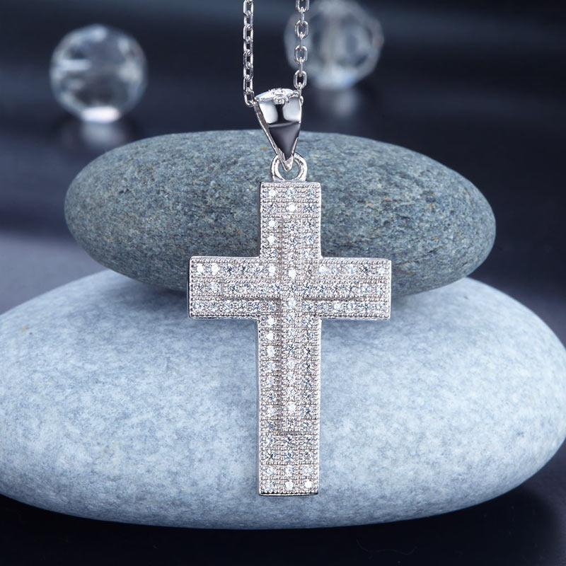 Micro Set Sterling Cross Pendant Necklace