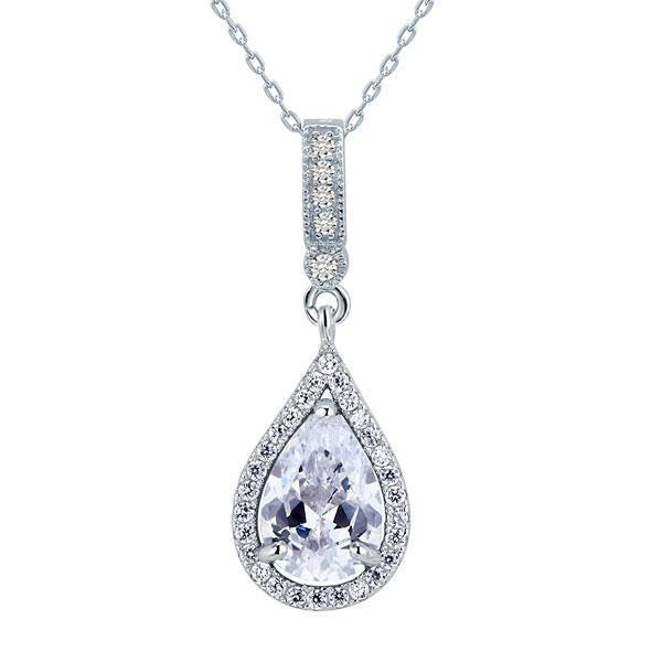 Pear Cut 3 Carat Bridal Pendent Necklace