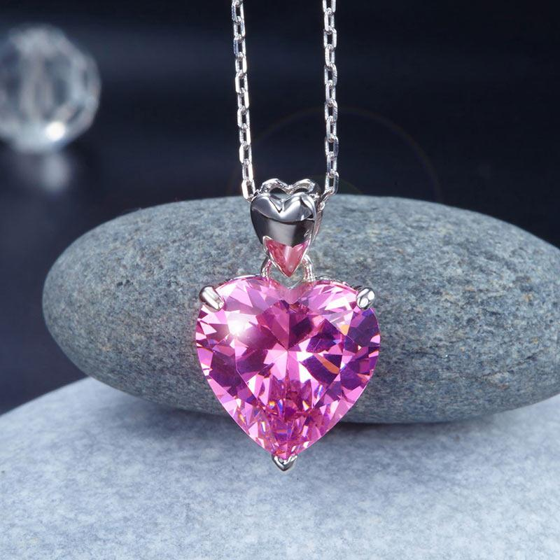 Pink Heart Cut 5 Carat Swirl Under Art Gallery Necklace