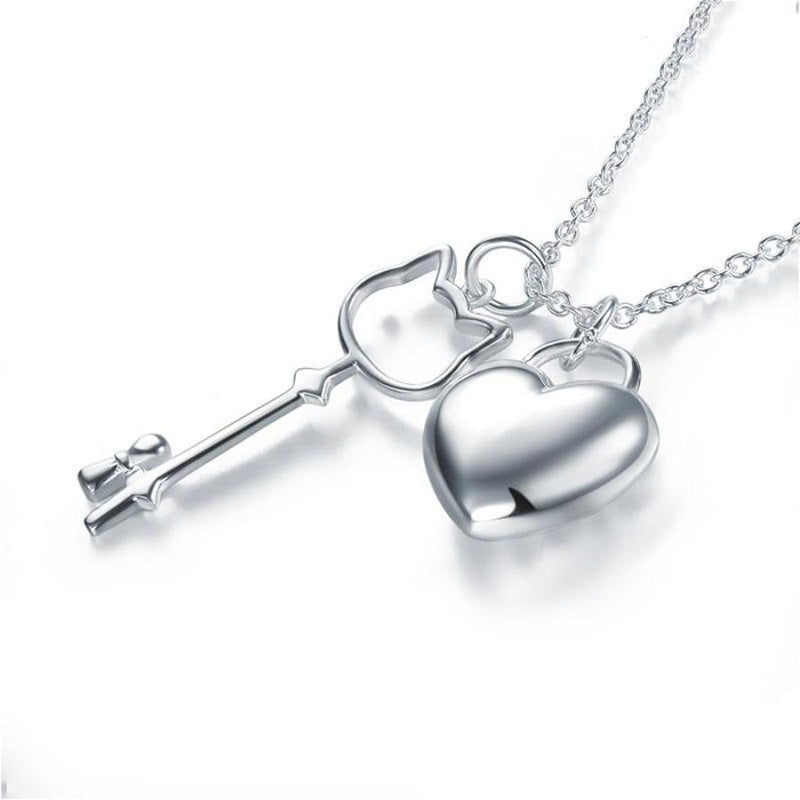 Kids Girl Key and Heart Pendant Necklace