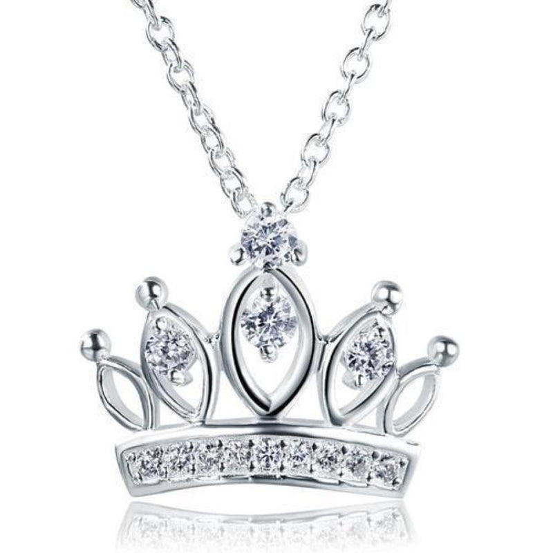 Kids Girl Detailed Crown Pendant Necklace