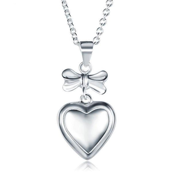 Kids Girl Ribbon-Heart Pendant Necklace
