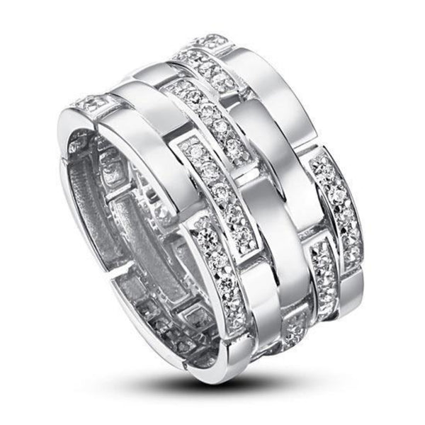 Wide Embedded Sterling Silver Band