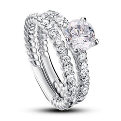 Engagement Ring Set, White Sapphire Ring, Discount Ring, diamonds