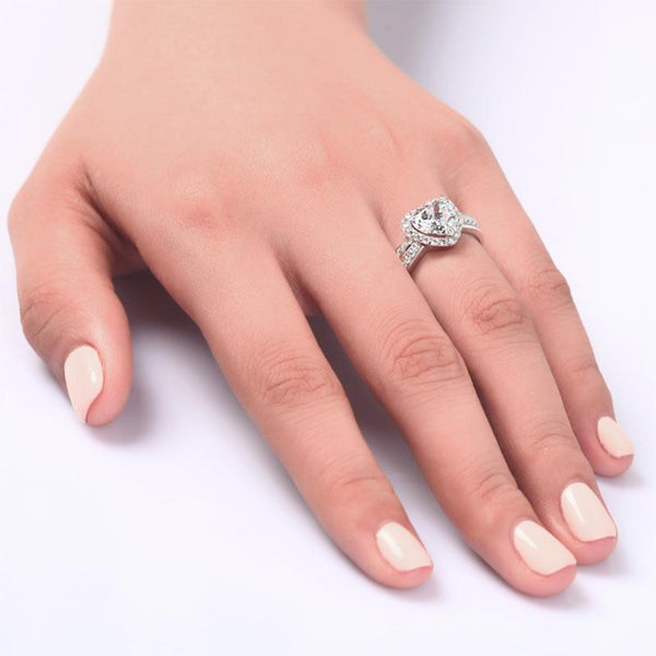 Micro Set Bezeled Heart Cut 2 Carat Ring