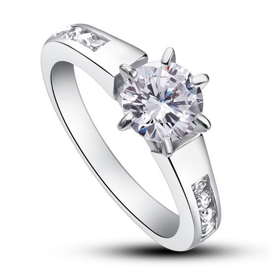 Round Cut 1.25 Carat Embedded Bridal Ring