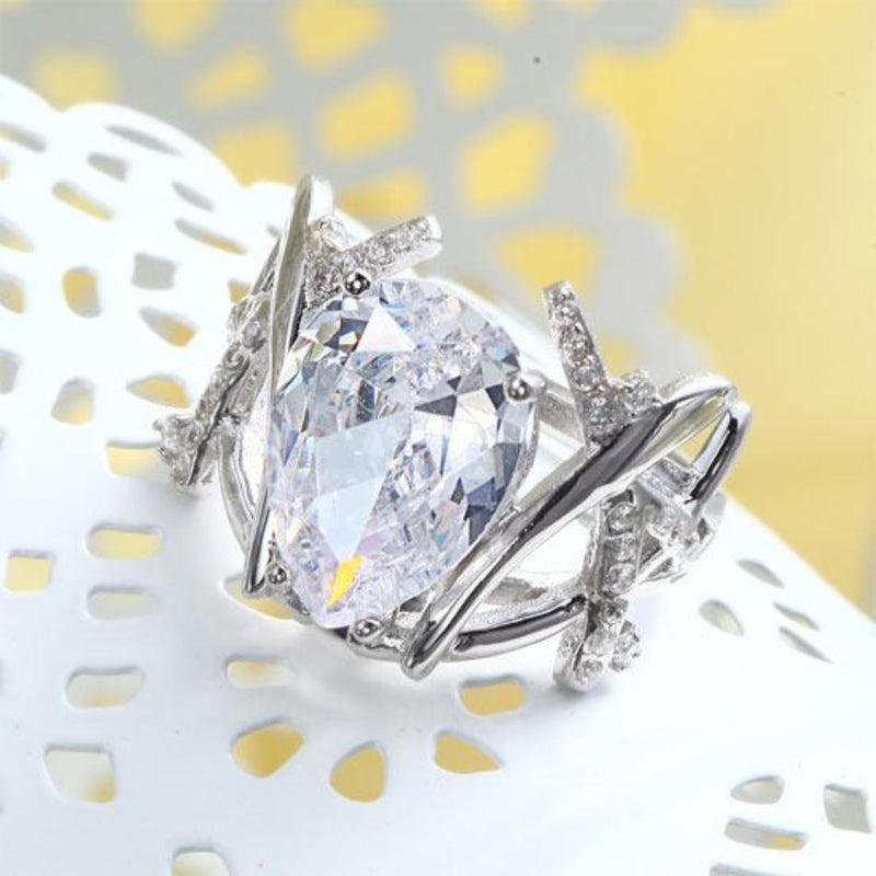 Pear Cut 4 Carat  Crafted White Sapphire Cocktail Ring