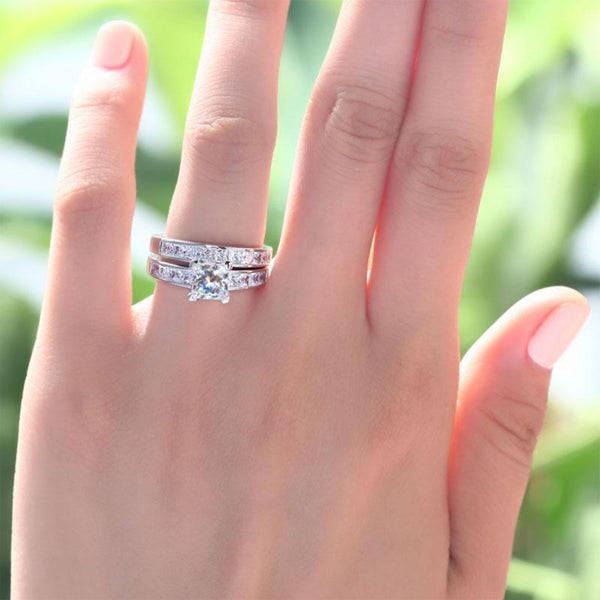 Channel Set 1 Carat Princess Cut Crafted White Sapphire Ring Set