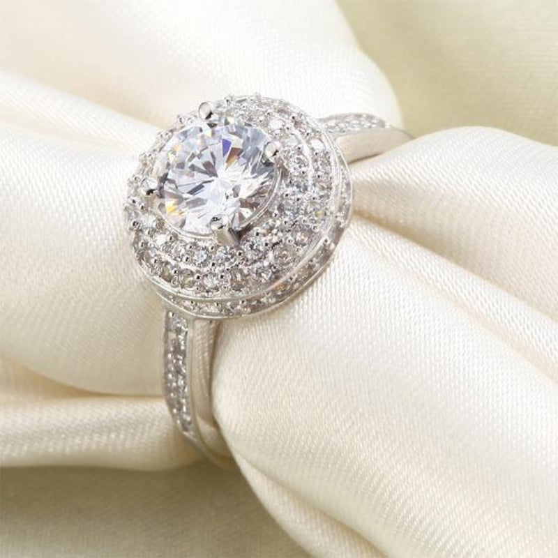 Halo Round 1 Carat Crafted White Sapphire Ring
