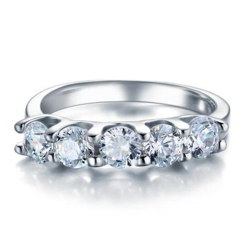 Five 1.25 CT Round Cut Stone Ring
