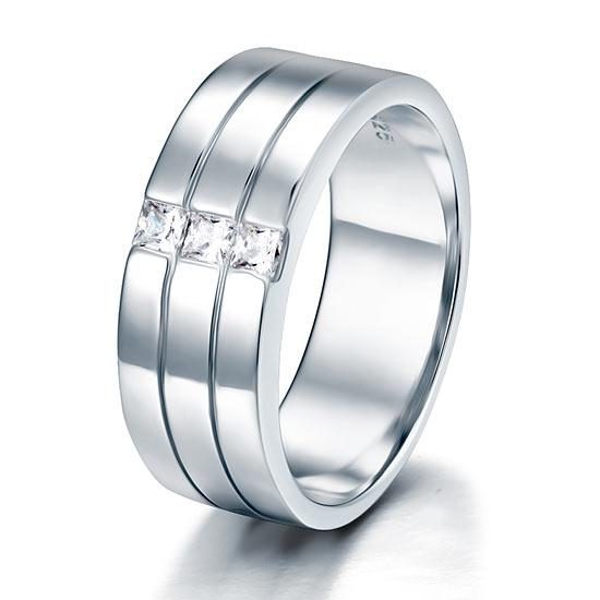 Solid Tri Band Princess Cut Plated Ring