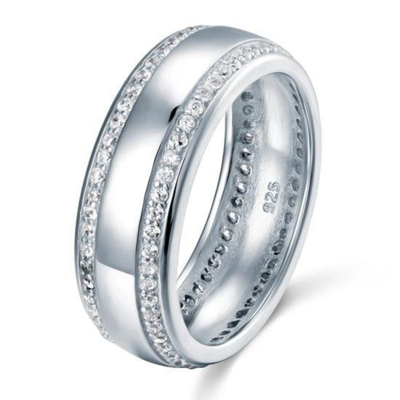 Men's 1mm Round Cut White Sapphire Band