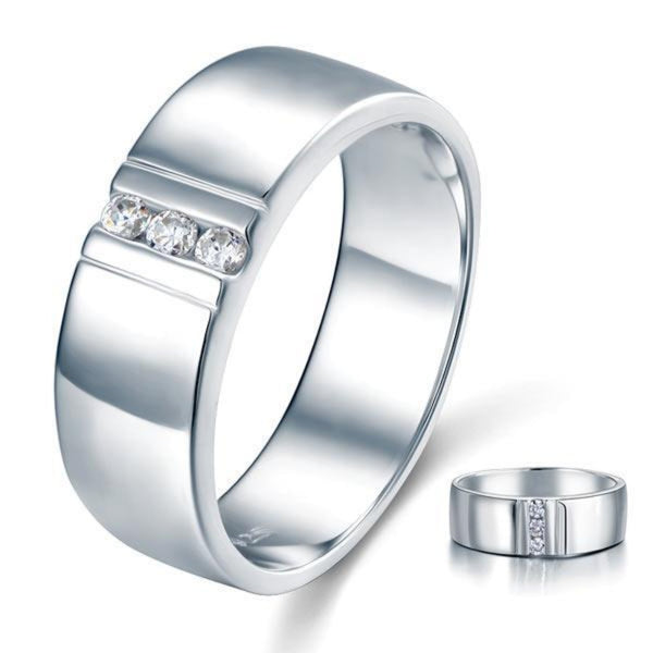 Men's 1.5mm Round Cut Crafted White Sapphire Band