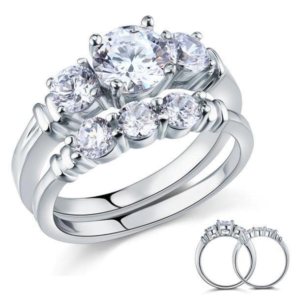Round Cut 1.25 Carat Sterling Silver Engagement Set