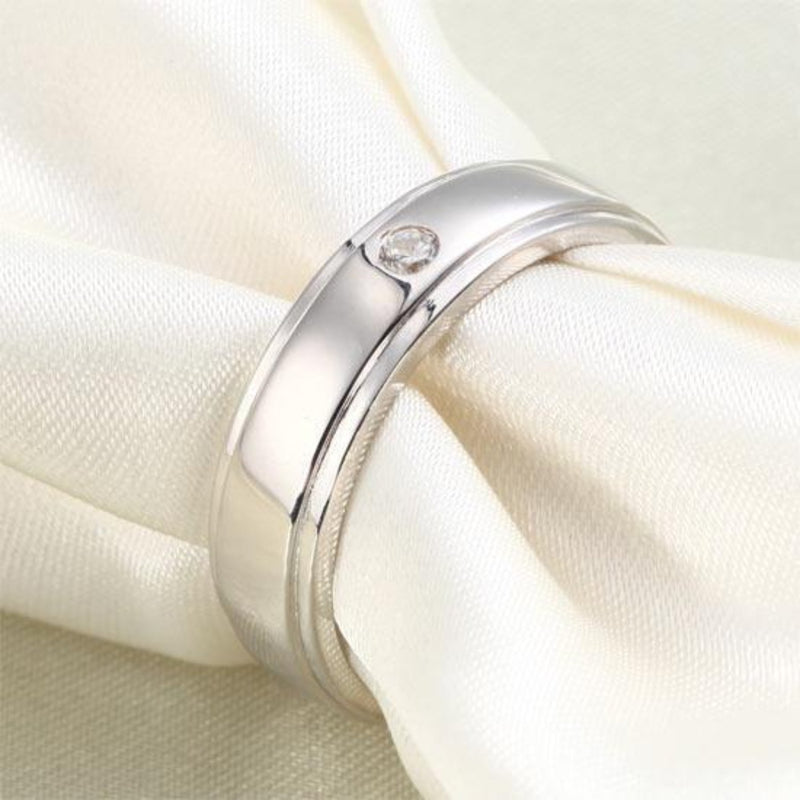 Men's 2mm Round Cut  Crafted White Sapphire Band