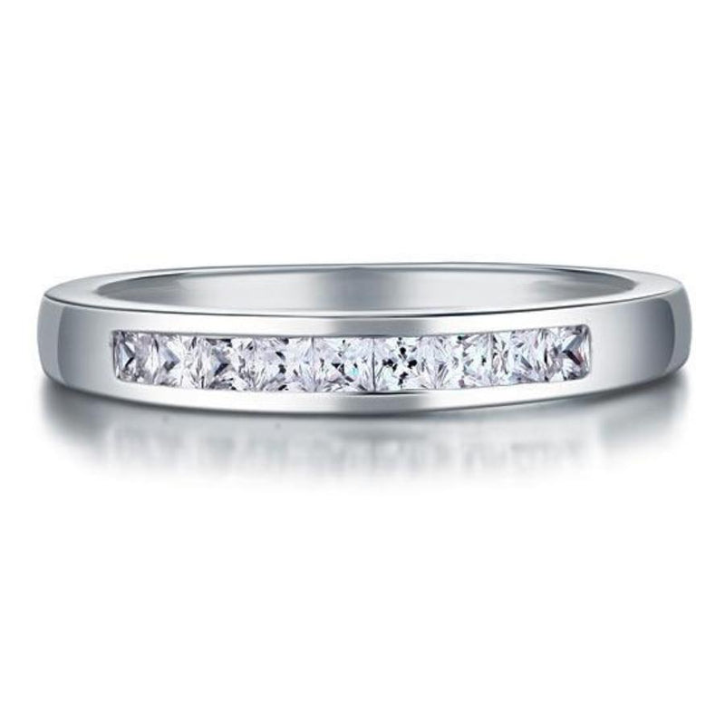 Channel Set Princess Cut White Sapphire Ring