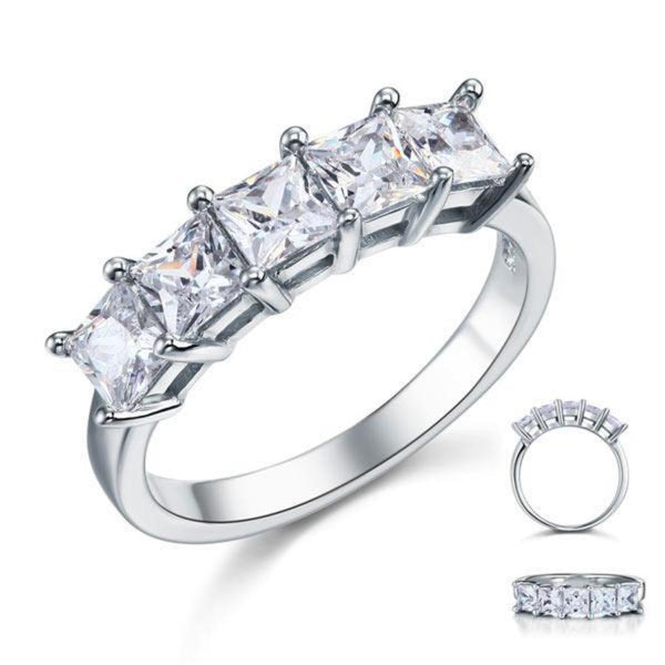 Princess Cut  Five Stone 1.25 Ct Crafted White Sapphire Ring