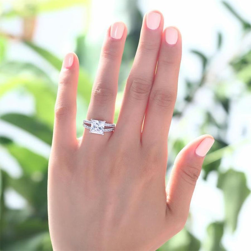 Split Band 2 Carat Princess Cut  Engagement/Bridal Ring