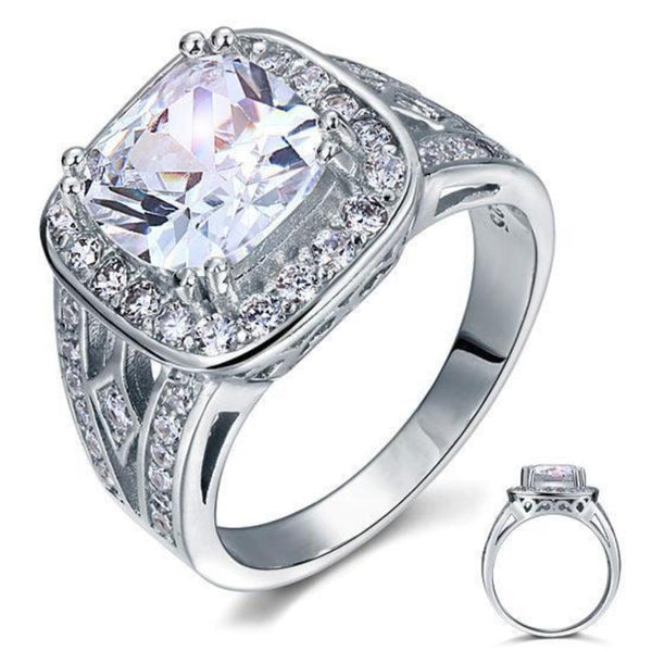 4 Carat Art Deco Cushion Cut Created Diamond Ring