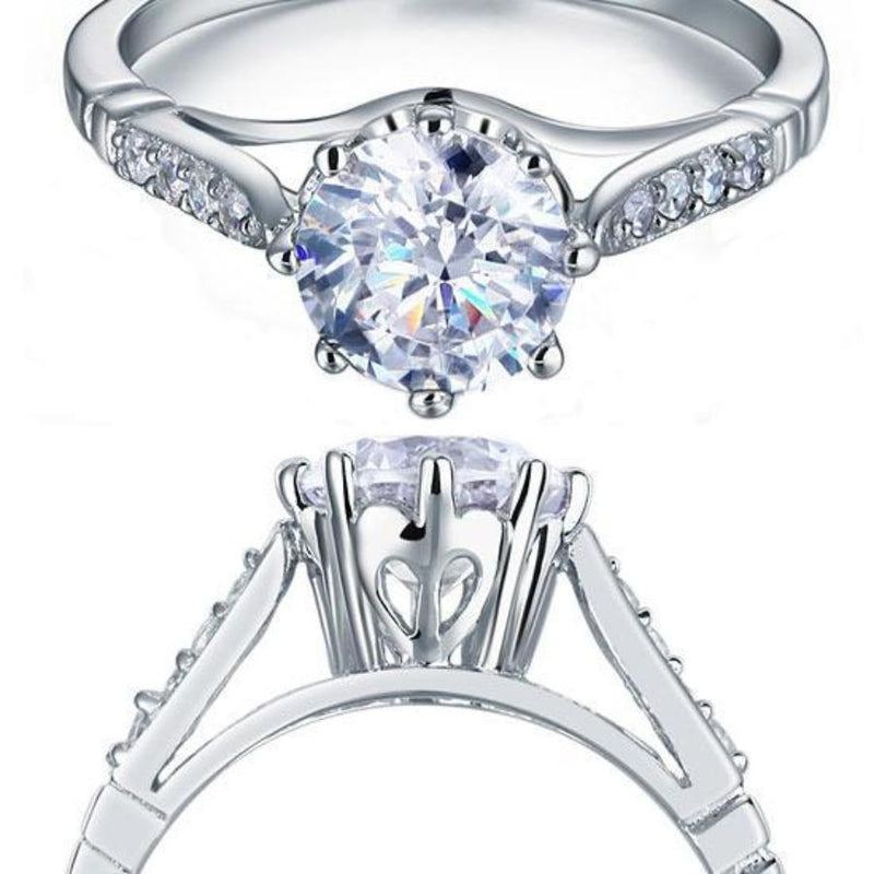 Mounted 2Ct Round Crafted White Sapphire Ring