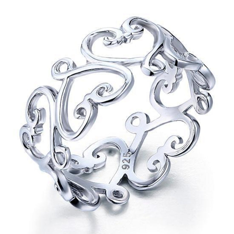 Heart Cut Vined Band Ring