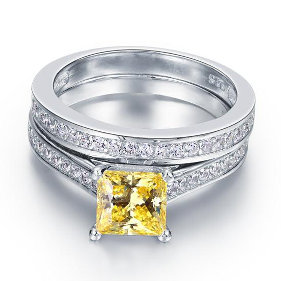 Yellow Princess Cut 1.5 Carat 2-pc Ring Set